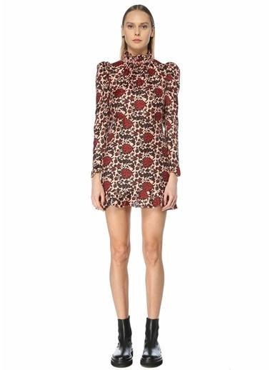 Sandro Sandro  Dik Yaka Çiçekli Mini Elbise 101627251 Renkli
